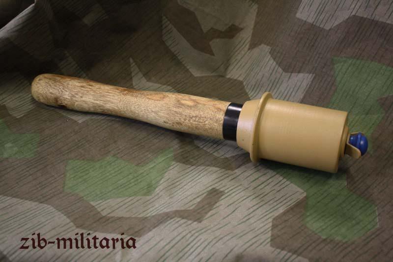 German M43 german stick grenade decoration, dark yellow 43, metal/wood