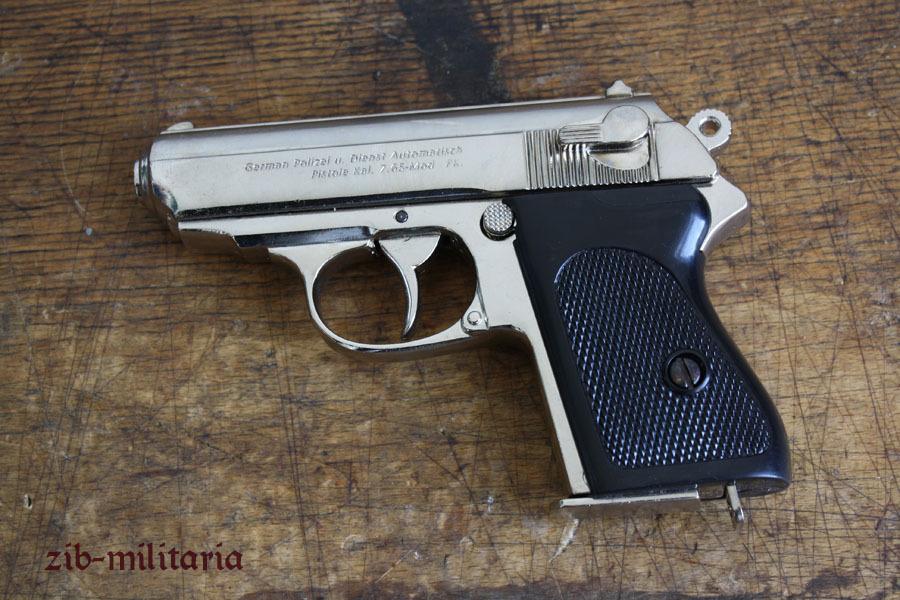 wh walther ppk vernickelt pistole nachbau aus gu metall. Black Bedroom Furniture Sets. Home Design Ideas