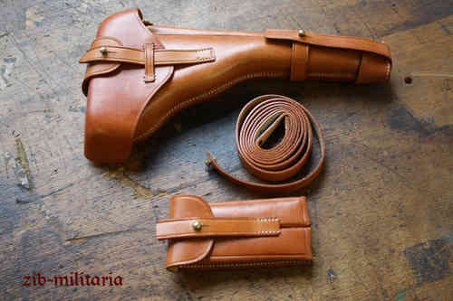 WH holster set for Luger P08 Ari, light brown