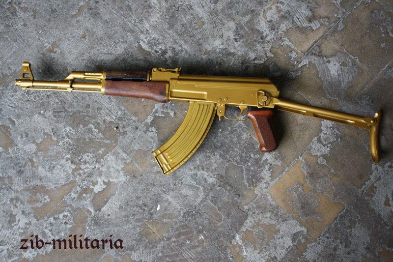 golden ak47 folding stock poland deactivated assault rifle. Black Bedroom Furniture Sets. Home Design Ideas
