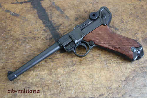 WH Luger P08 MARINE with wooden grip shells, pistol model
