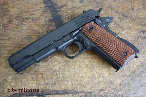 US Colt 1911 with rifled wooden grip shells, pistol model