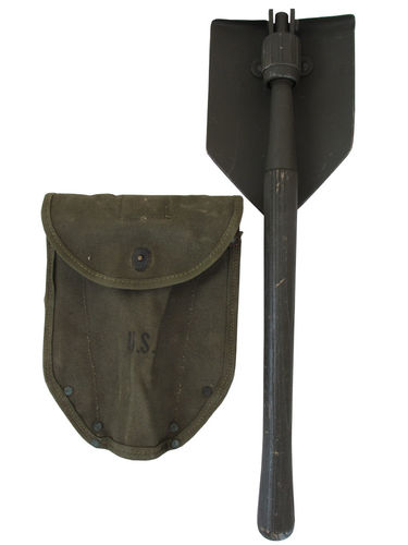 US Klappspaten M43, original WWII entrenching tool, inkl. Carrier