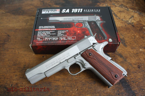 P1911 stainless, Blow-Back, Swiss Arms, 4,5mm Stahl BB, CO2