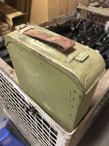 Maxim 1910 belt box with belt, WWII, Suomi Army M32 boxes