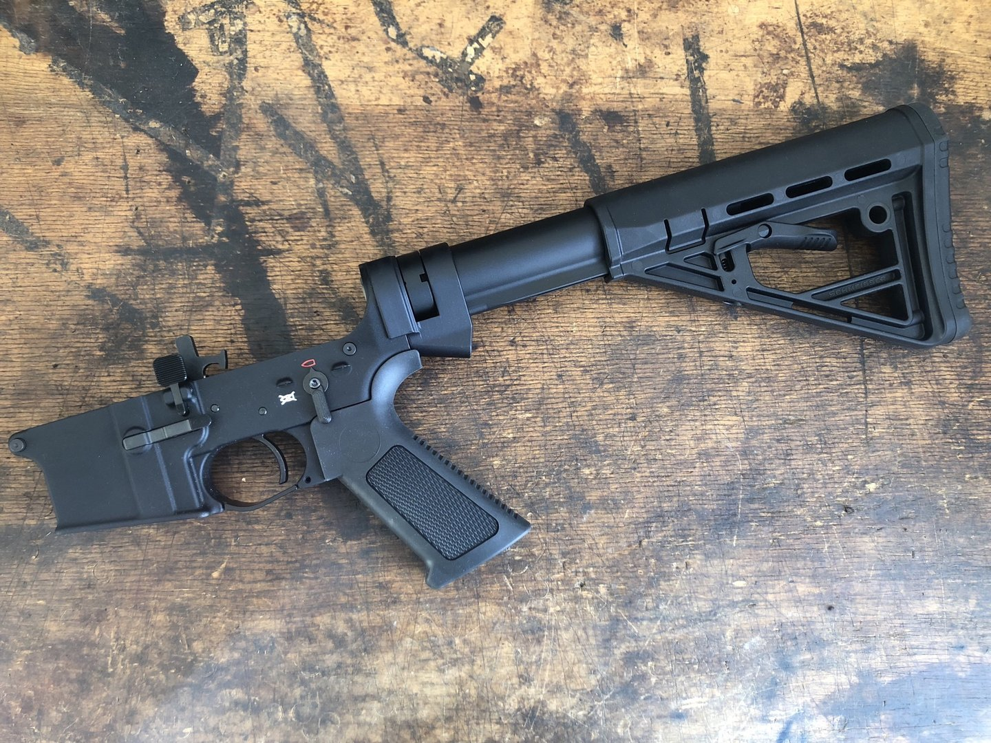 AR-15 lower complete with mounted sliding stock, semi-auto, Schmeisser  Germany made