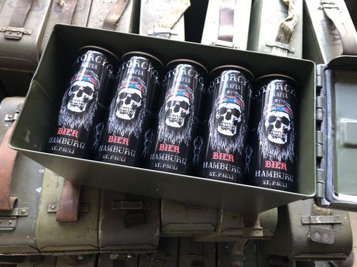 Ammo crate .50 cal filled with 15x cans beere from Hamburg, Special sale