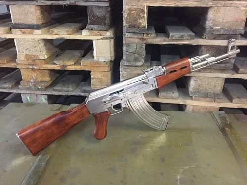 Chrome AK47 fixed stock, assault rifle model