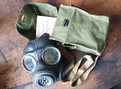 British gas mask and pouch