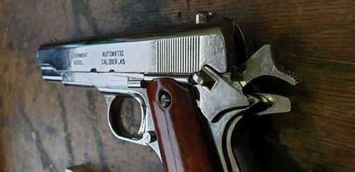 US Colt 1911, silver 7 nickel, pistol model, can be dismantled #6312